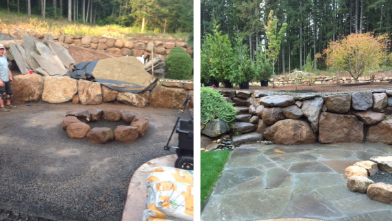 Before and after photo of hardscape project building a fire pit, retaining wall and patio made with unique flagstone pieces.